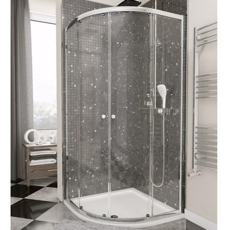 Claritas Glass Quadrant Shower Screen Enclosure with Tray & Waste - 900 x 900mm