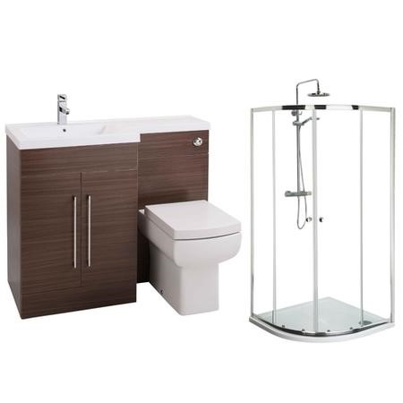 Moderno Left Hand Walnut Furniture Suite with 900mm Shower Enclosure Tray and Waste
