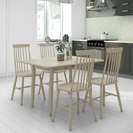 Cream Extendable Dining Set with 4 Spindle Chairs - Cami