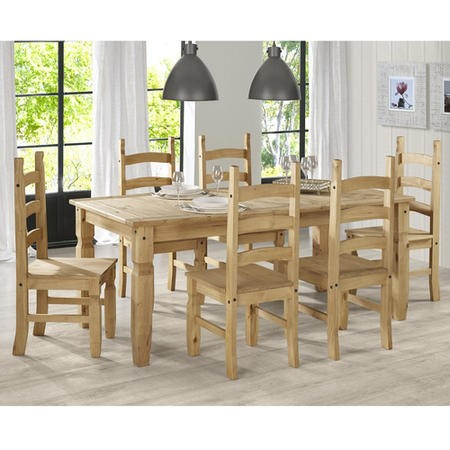Corona Mexican Solid Pine Dining Set With 6 Dining Chairs