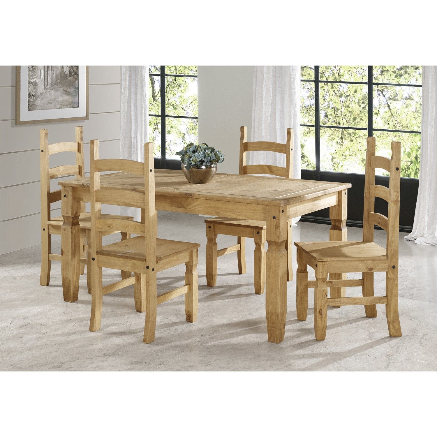 Corona Pine Solid Wood Dining Set With 1 Table 4 Chairs Furniture123