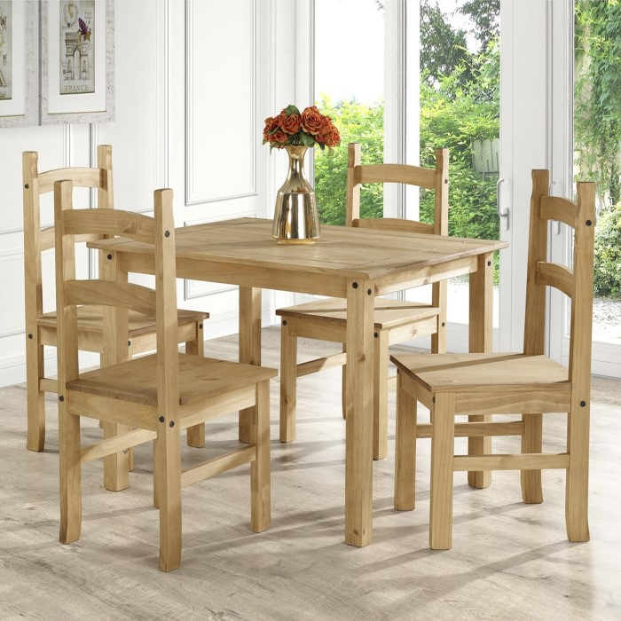 Corona Mexican Solid Pine Dining Set With 4 Dining Chairs Furniture123