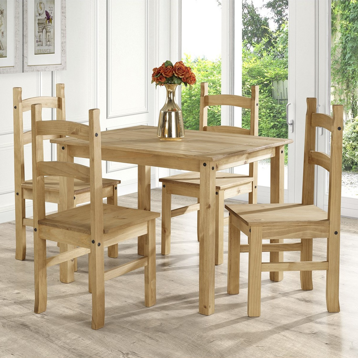 Corona Mexican Solid Pine Dining Set With 4 Dining Chairs