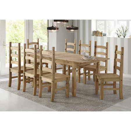 Corona Mexican Solid Pine Extendable Dining Table with 8 Dining Chairs