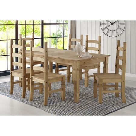 Corona Mexican Solid Pine Extendable Dining Table Set with 6 Dining Chairs