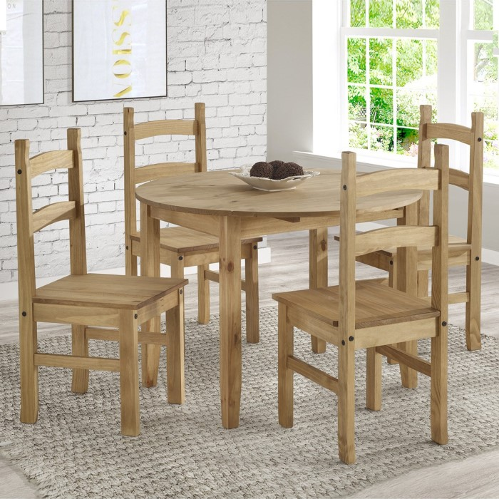 Corona Mexican Solid Pine Round Drop Leaf Dining Table Set With 4