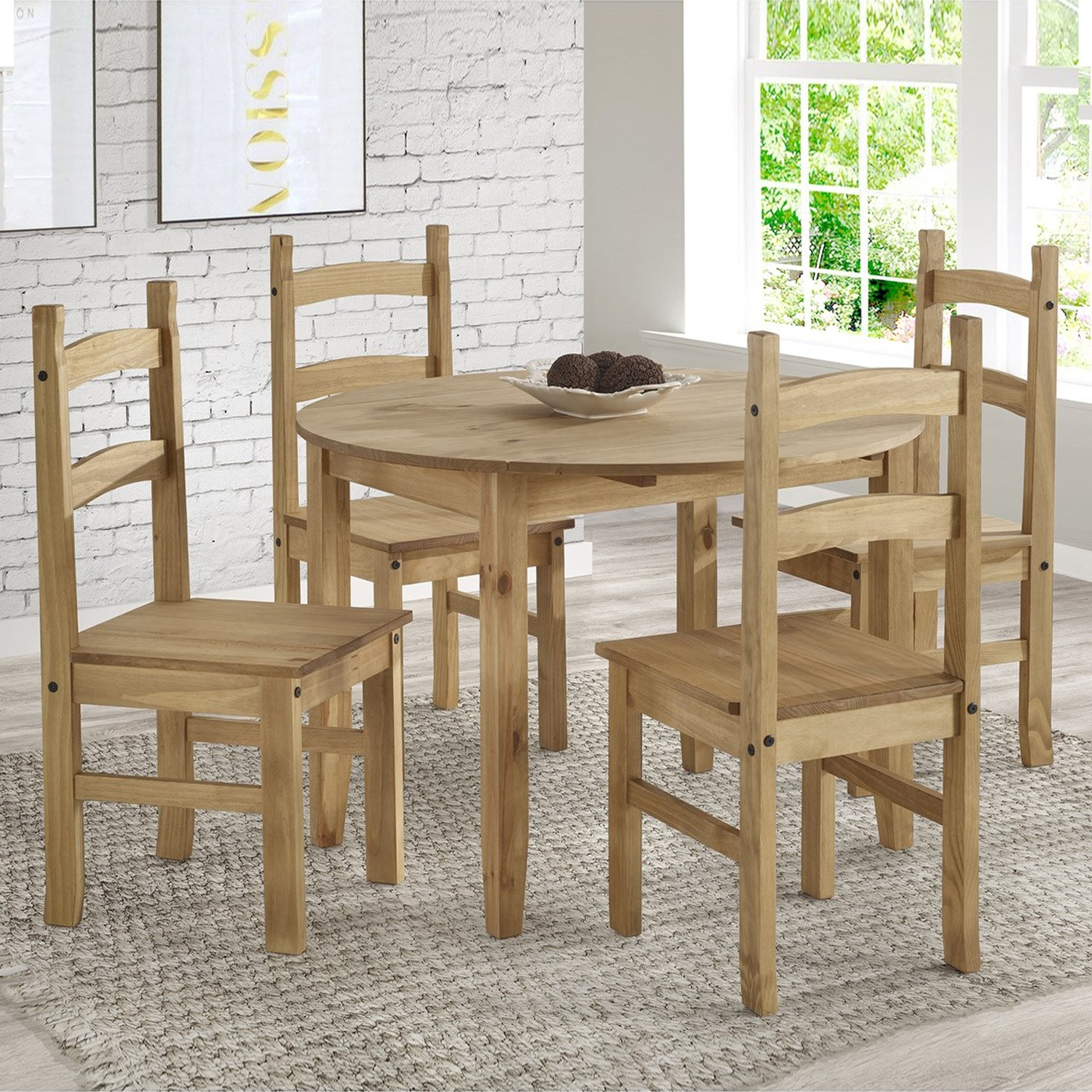 Corona Mexican Solid Pine 4 Seater Round Drop Leaf Dining Table Set