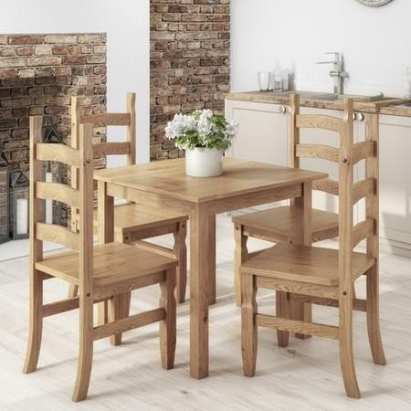 Small Square Dining Table with 4 Dining Chairs in Solid Pine - Corona
