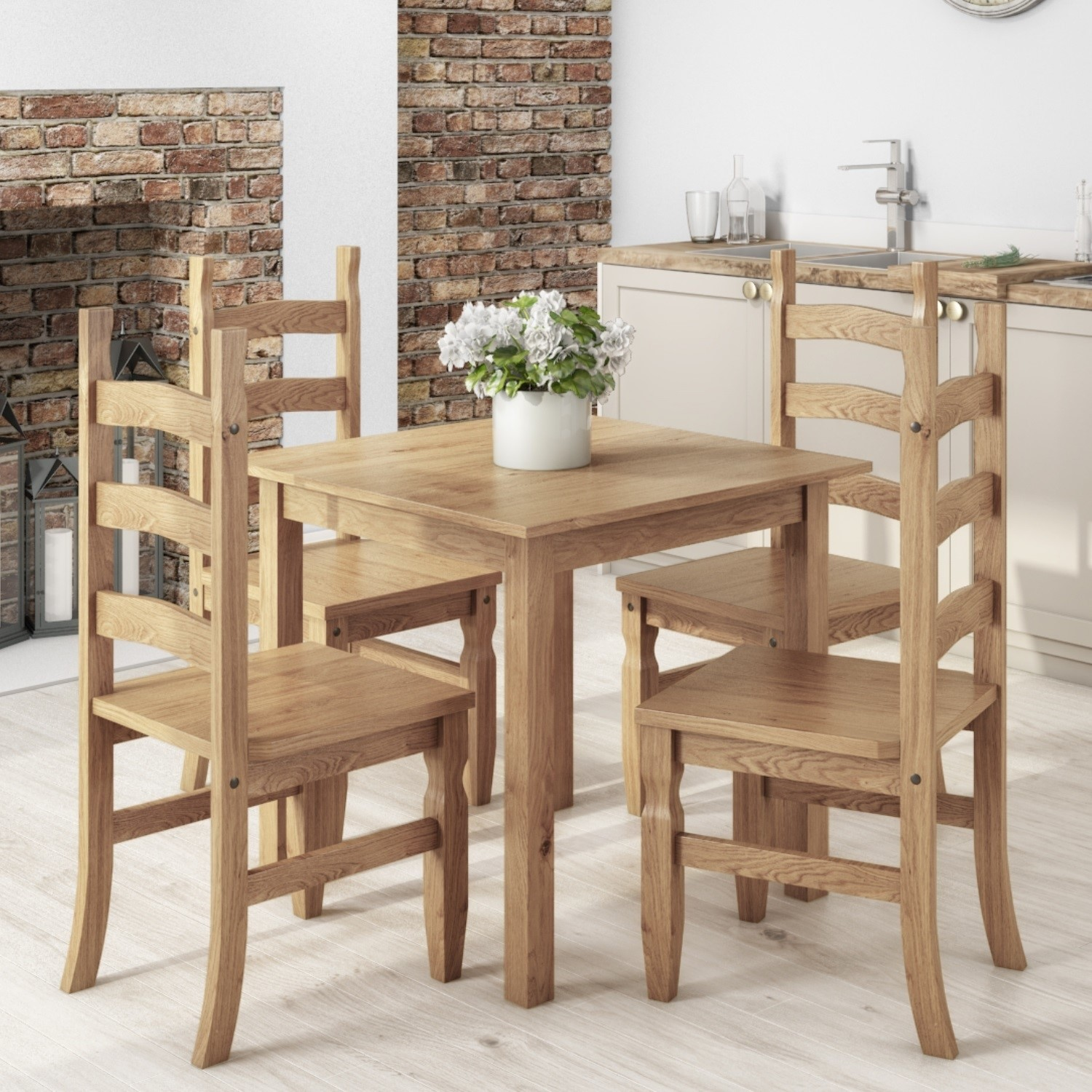 on sale 34214 a8640 Small Square Dining Table with 4 Dining Chairs in Solid Pine - Corona