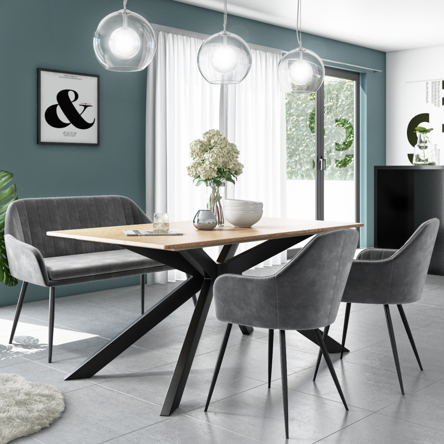 Carson Light Oak Dining Table With 1 Grey Velvet High Back Bench And 2 Dining Chairs Furniture123