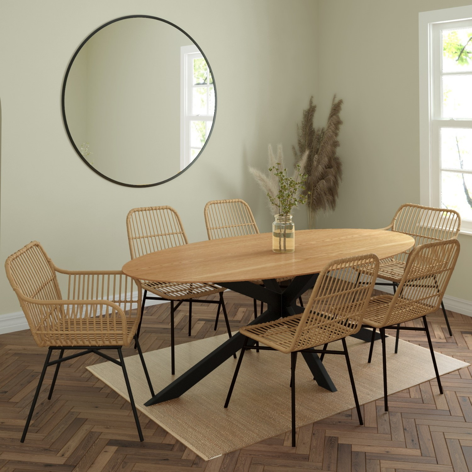 Carson oak oval dining table with 9 rattan dining chairs £9.9 ...