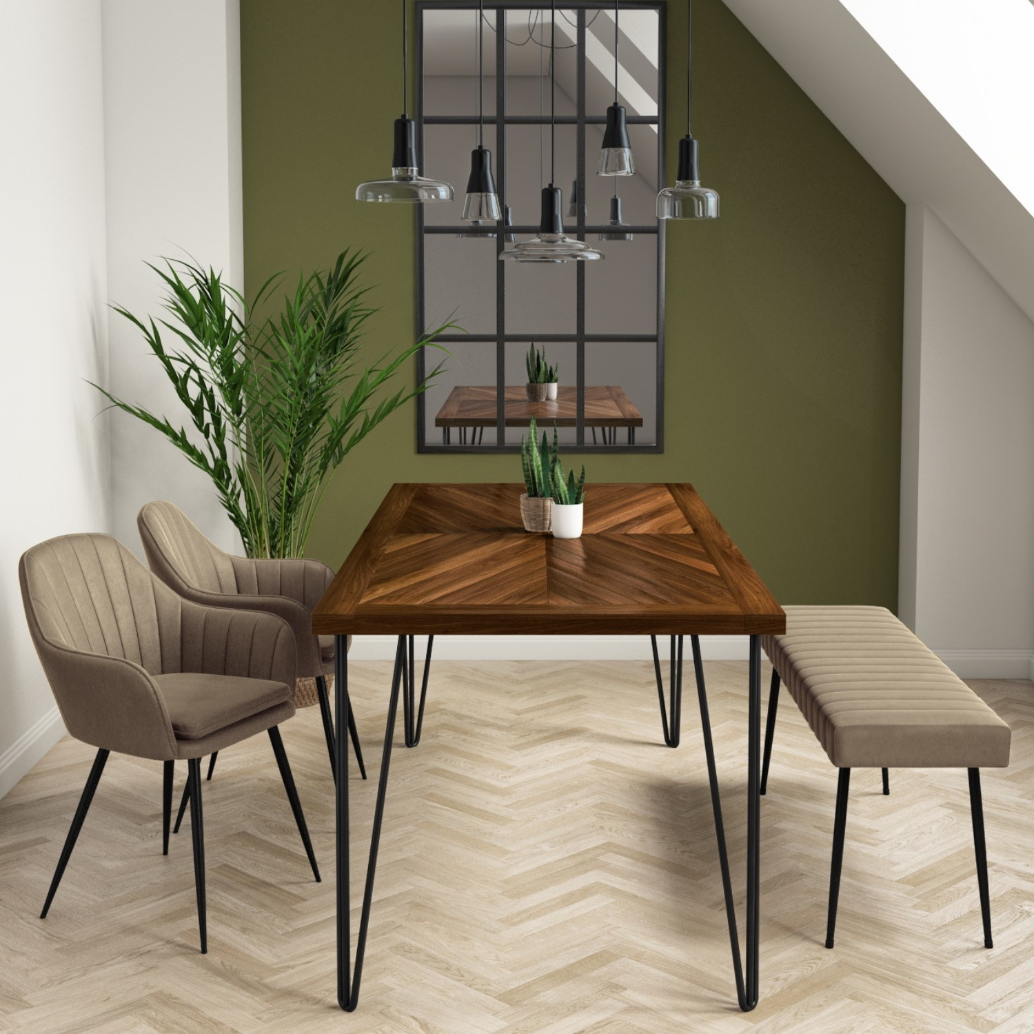 Drew Dark Wood Dining Table with 9 Dining Chairs & 9 Bench in Beige Faux  Leather