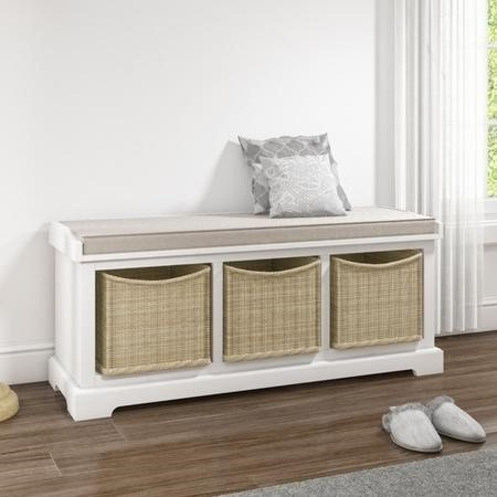 Elms White Solid Wood Blanket Box with Storage Wicker Baskets & Cushion
