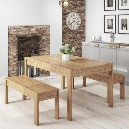 Emerson Solid Pine Rectangle Dining Table with 2 Dining Benches