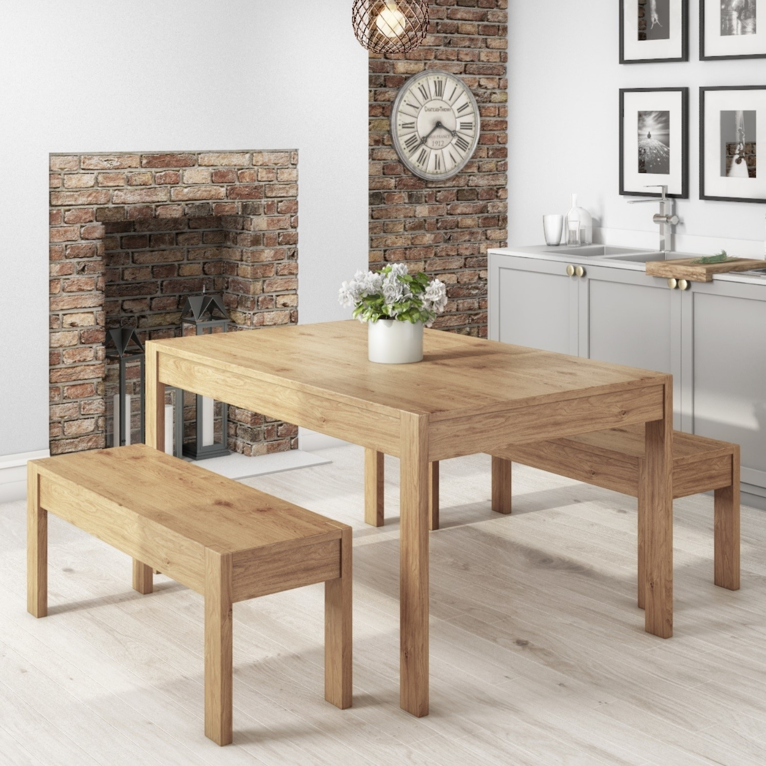 Solid Pine Rectangle Dining Table with 9 Dining Benches   Emerson