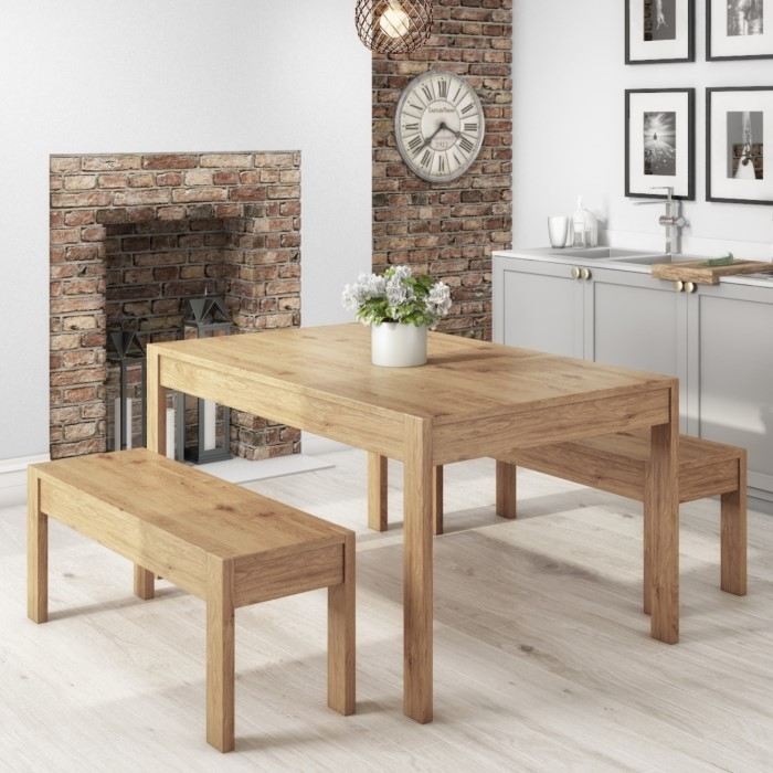 Emerson Solid Pine Dining Table Set Includes 2 Solid Pine Benches