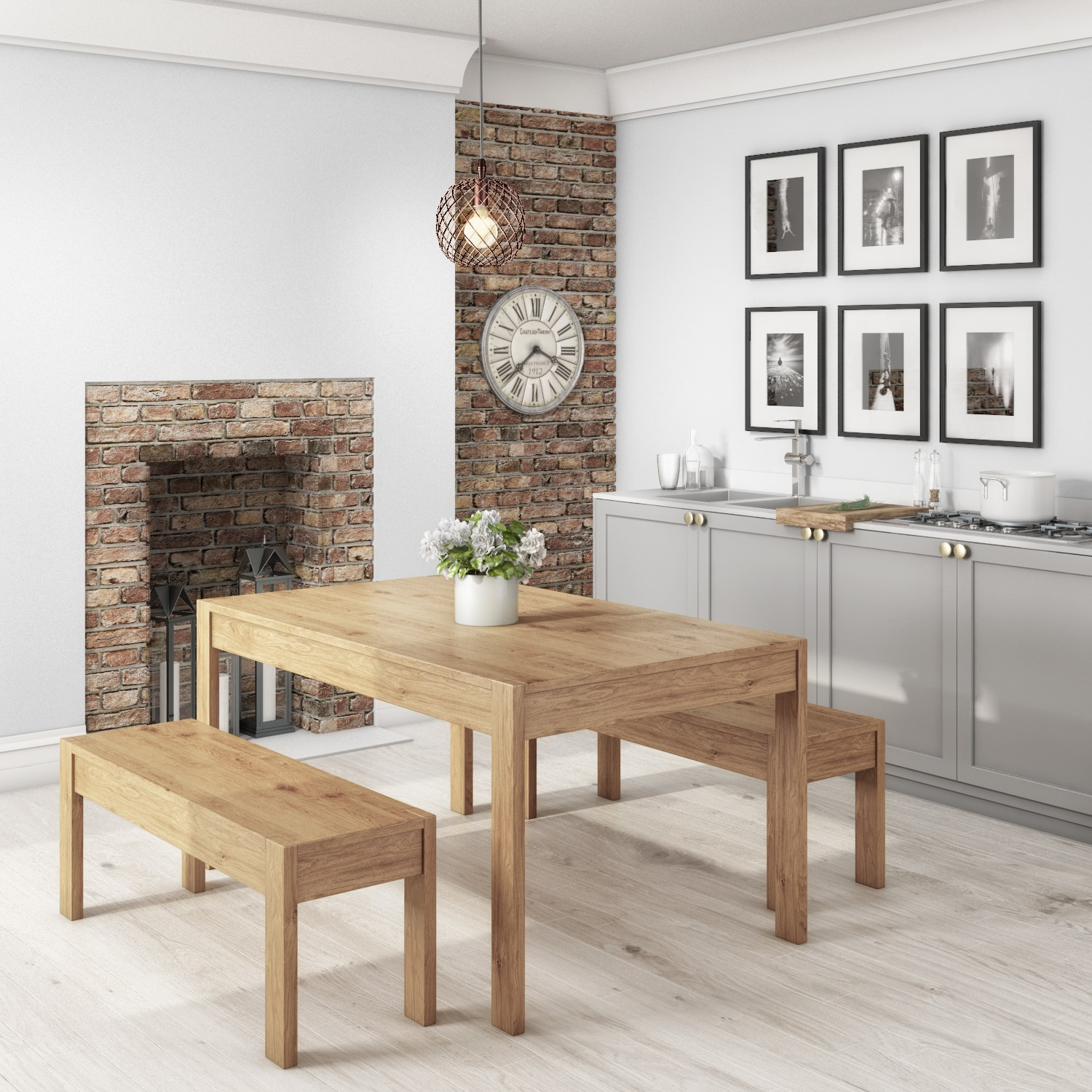 Superbe Emerson Solid Pine Dining Table Set   Includes 2 Solid Pine Benches