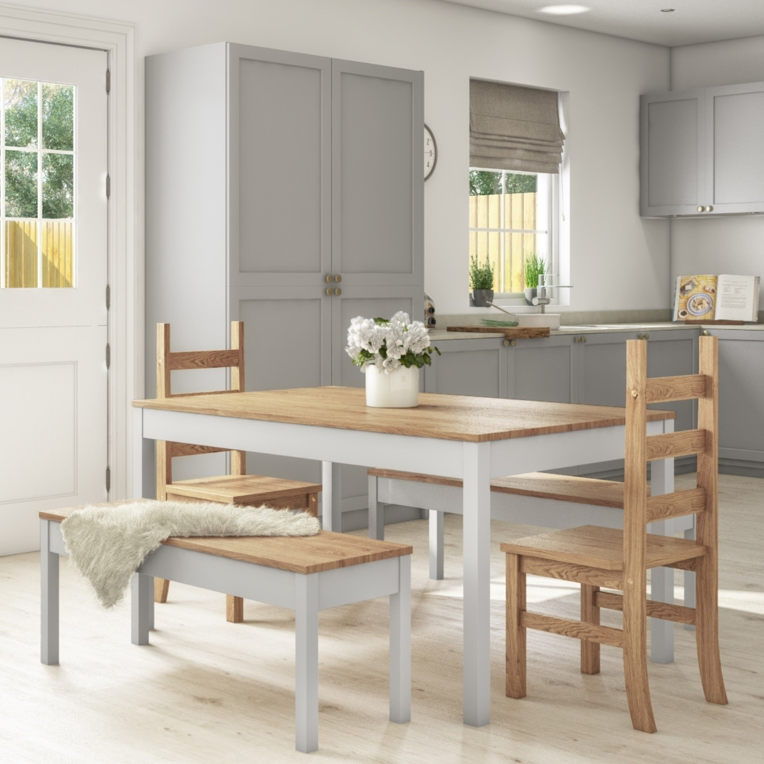 Emerson Grey Pine Dining Table With 2 Dining Chairs 2 Grey Benches Furniture123