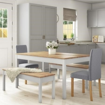 Grey & Solid Pine Dining Table & 2 Grey Chairs & 2 Benches - New Haven