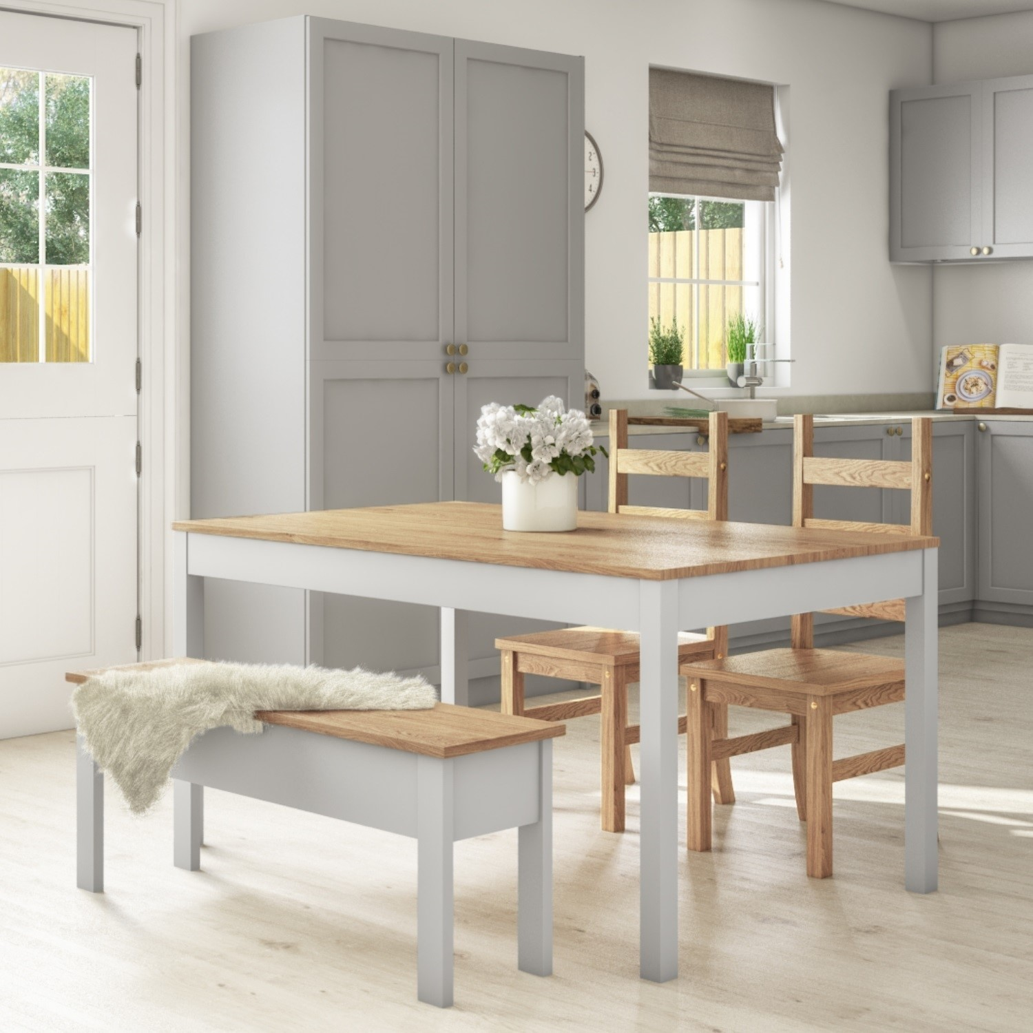 Emerson grey & pine dining table with 9 chairs & 9 bench