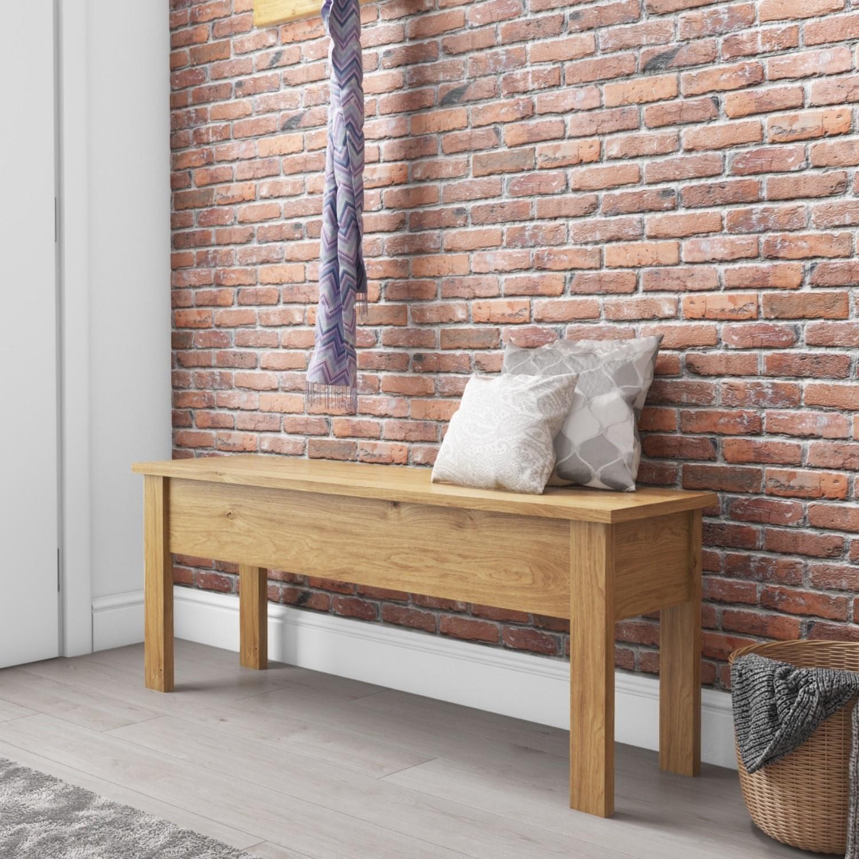 Hallway Storage Bench in Solid Pine - Emerson