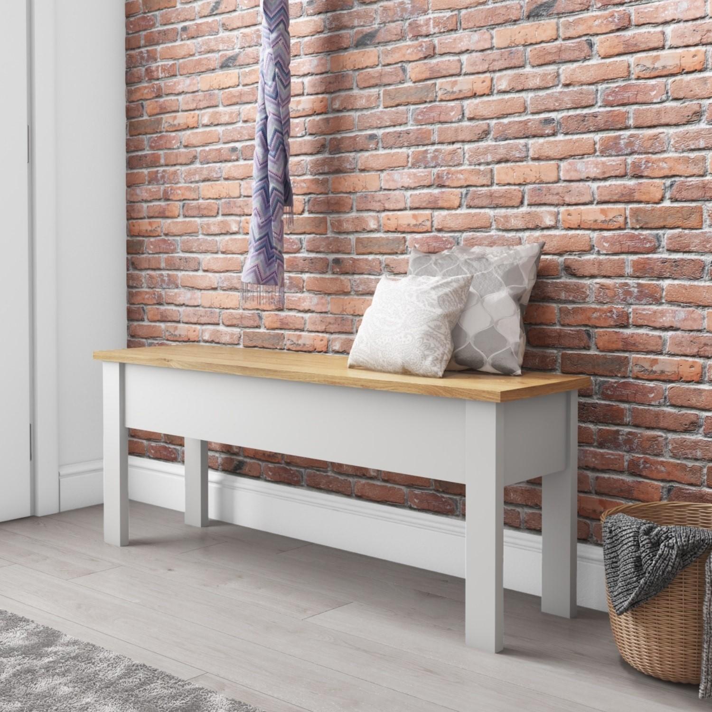 Grey & Pine Hallway Bench with Storage - Emerson