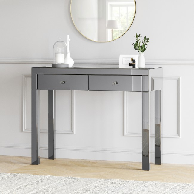 Eva Grey Mirrored 2 Drawer Console Table with Crystal Effect Handles