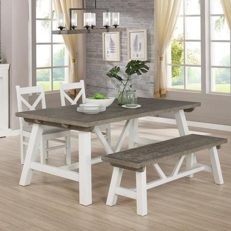 Extendable Wood Dining Table in White & Grey Wash with 2 Chairs & 1 Bench - Fawsley