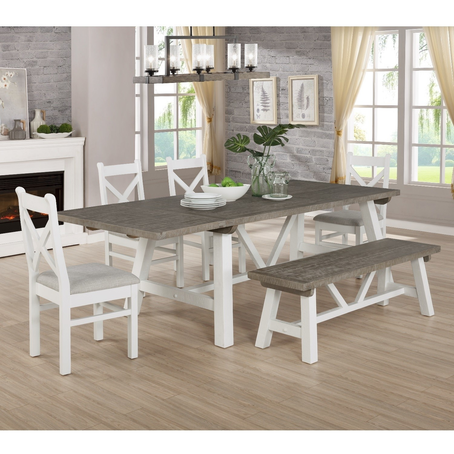 Extendable Wood Dining Table In White Grey Wash With 4 Chairs 1 Bench Fawsley Furniture123