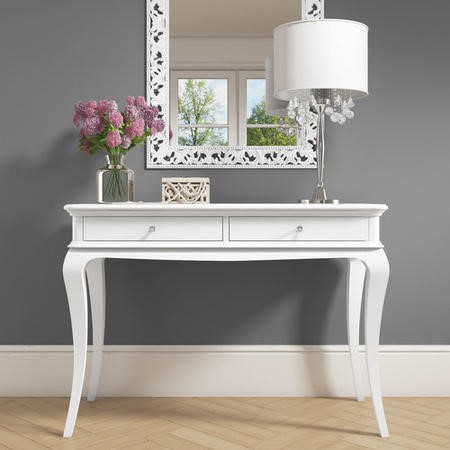 Florentine White Console Table With Crystal Handles