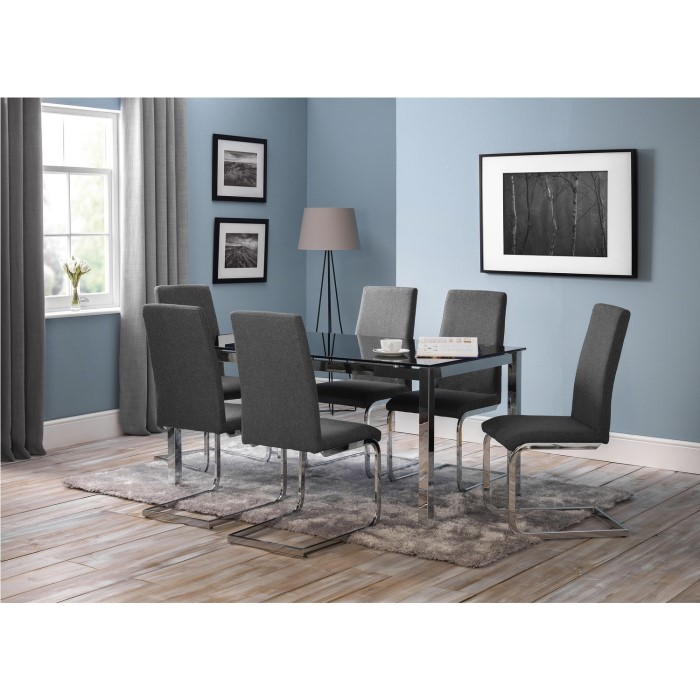 15b52e531379 Julian Bowen Tempo Modern Rectangle Dining Table with Black Glass Top -  Seats 4-6 FOL061625