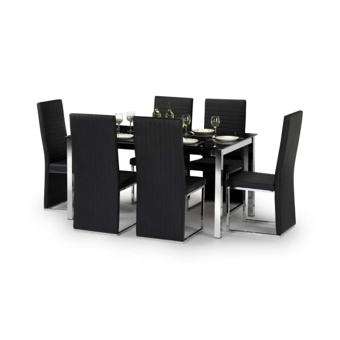 3ae8c0291f10 Julian Bowen Tempo Modern Rectangle Dining Table with Black Glass Top -  Seats 4-6