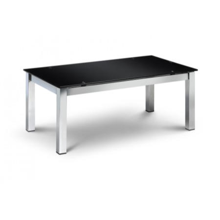 Julian Bowen Tempo Modern Rectangle Dining Table with Black Glass Top - Seats 4-6