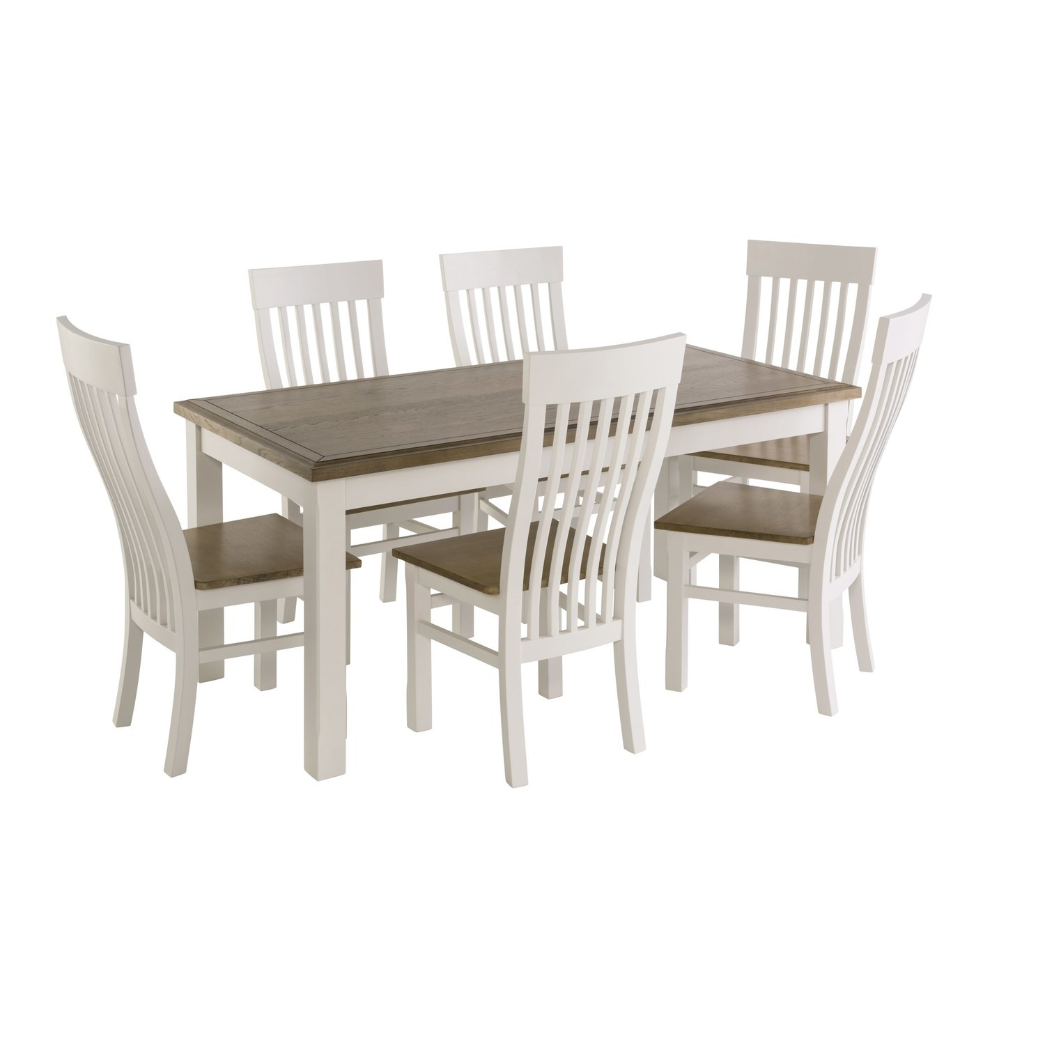 Excellent Bordeaux Solid Oak Two Tone Dining Set With 6 Cream Dining Chairs Squirreltailoven Fun Painted Chair Ideas Images Squirreltailovenorg