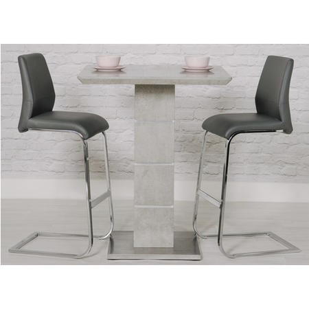 Grey Bar Table & 2 Bar Stools in Faux Leather