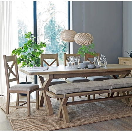 Smoked Oak Extendable Dining Table with 4 Chairs & Dining Bench