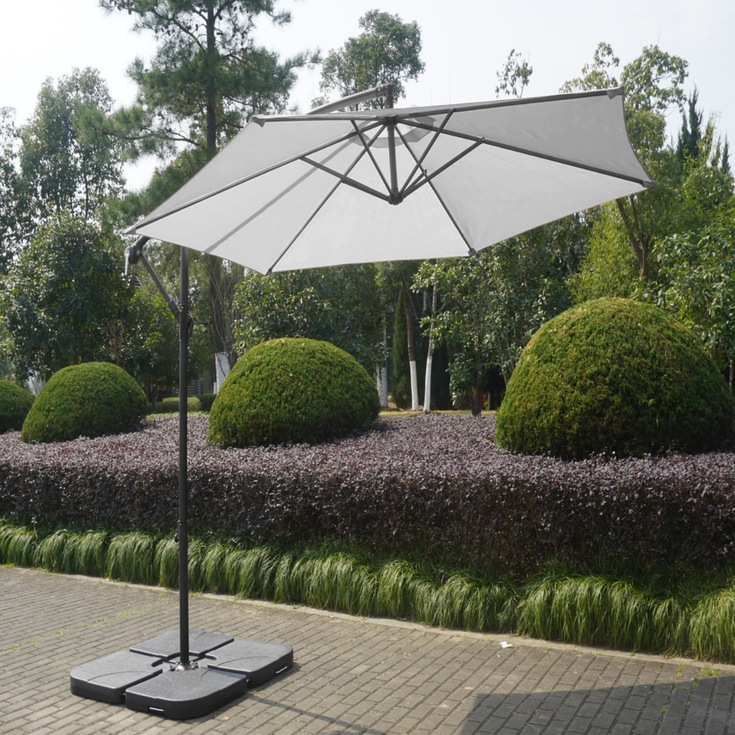 Large 3x3m Cantilever Garden Parasol Base Cover Included Grey Furniture123