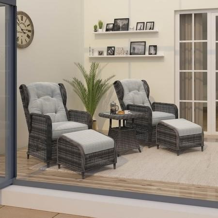 Reclining Rattan Conservatory Set in Brown with Table & Footstools – Aspen Range