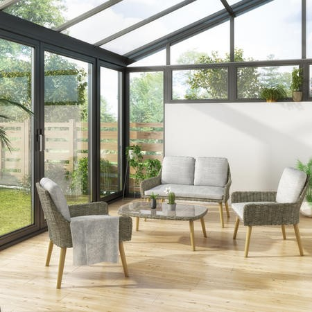 4 Piece Conservatory Furniture Set in Rattan with Grey Cushions – Aspen