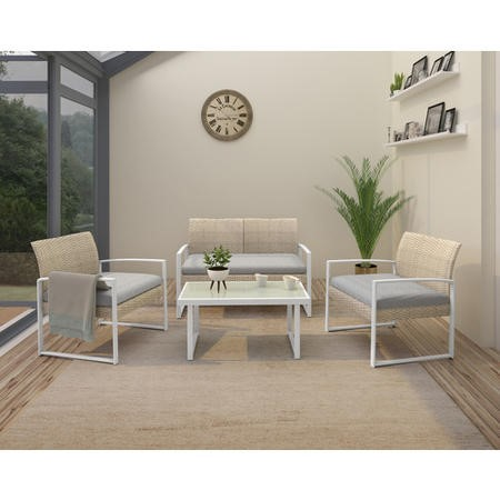 4 Piece Rattan Conservatory Furniture Set with Grey Cushions & Table