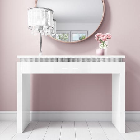 Gabriella White High Gloss Console Table with Diamante Trim