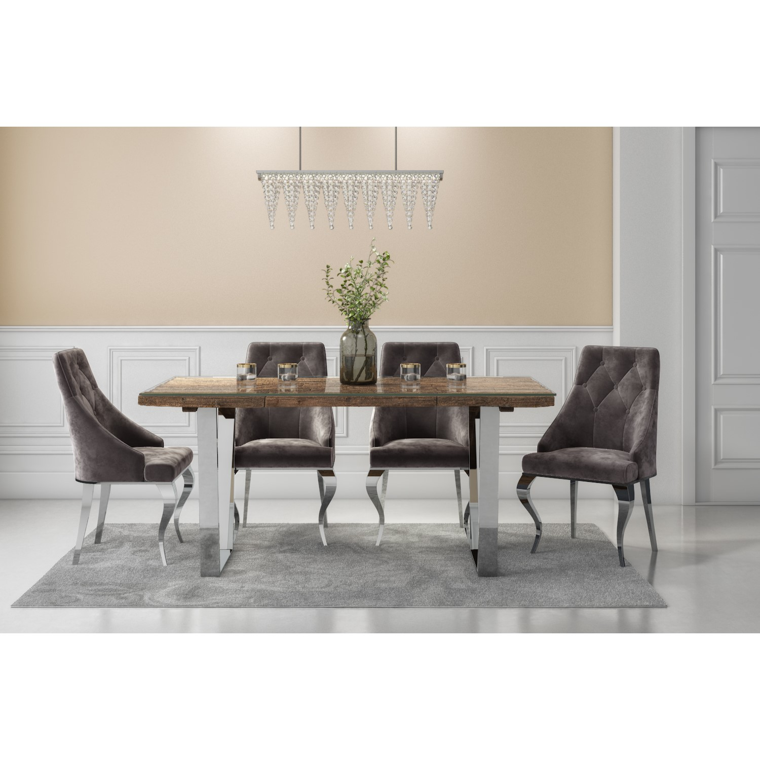 Admirable Railway Wood Glass Top Dining Table Set With 4 Grey Velvet Chairs Grayson Download Free Architecture Designs Viewormadebymaigaardcom