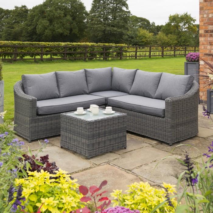 Rowlinson Rattan Garden Corner Sofa Set In Grey Bunbury