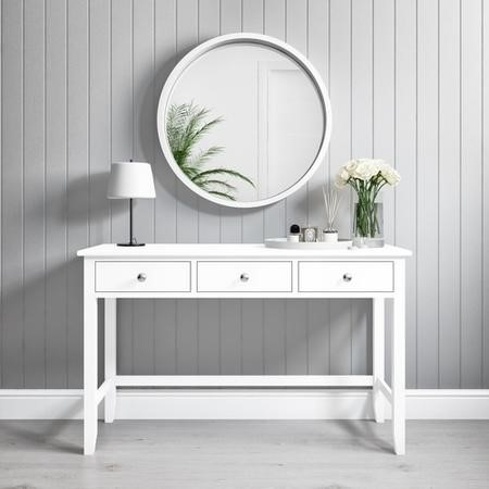 Harper White Solid Wood Console Table