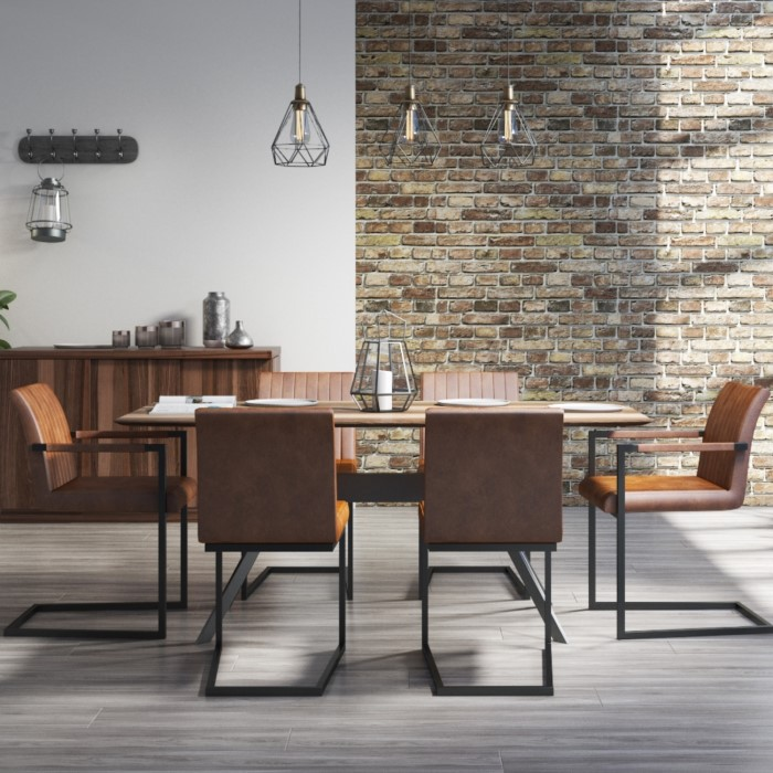Issac Industrial Dining Table With 6 Vintage Tan Faux Leather Chairs BUN ISC001 70503