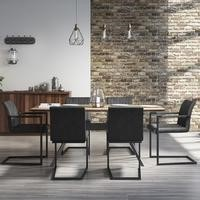 Issac Industrial Dining Table with 6 faux Leather Chairs Set