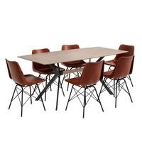 Industrial Dining Set with 6 Tan Leather Chairs & Wooden Table