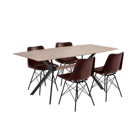 Industrial Dining Set with Retro Dark Red Leather Dining Chairs - Seats 4