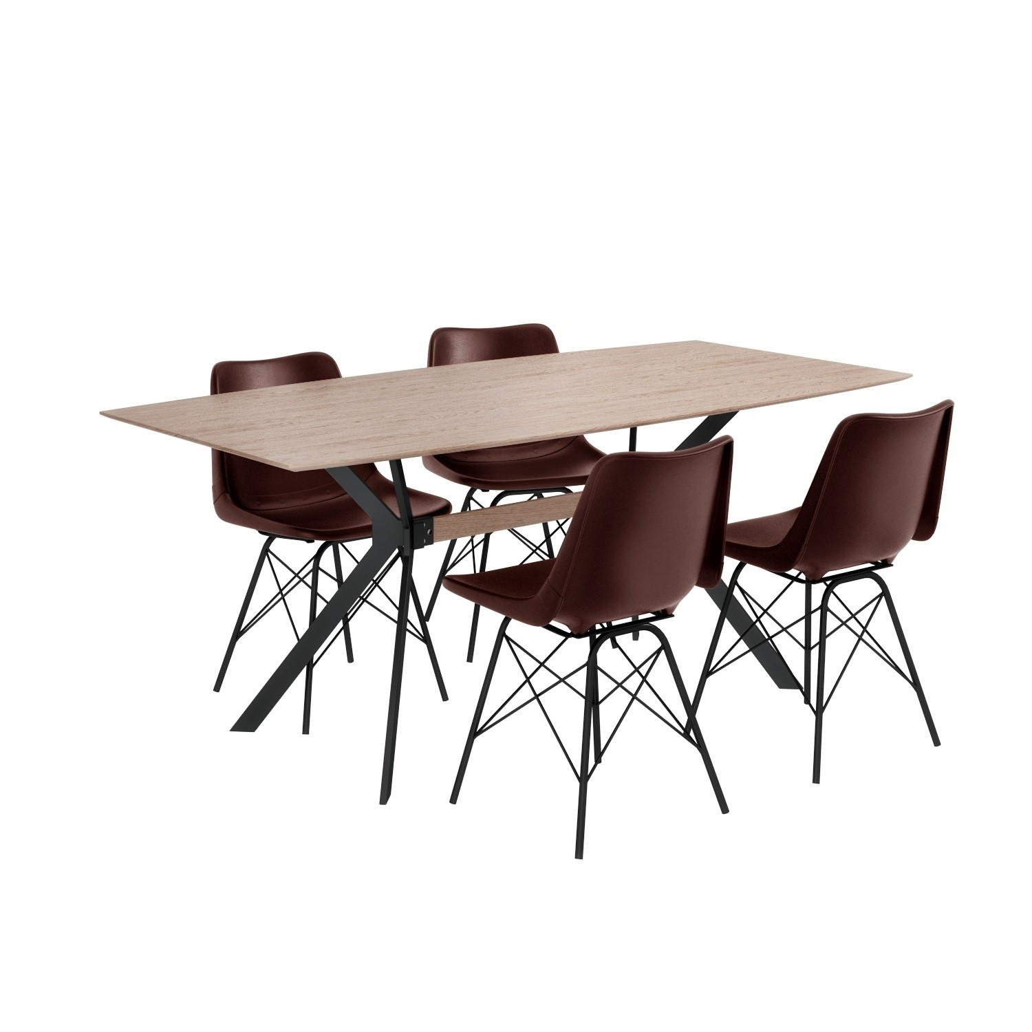 Industrial Dining Set With Retro Dark Red Leather Dining Chairs Seats 4 Furniture123