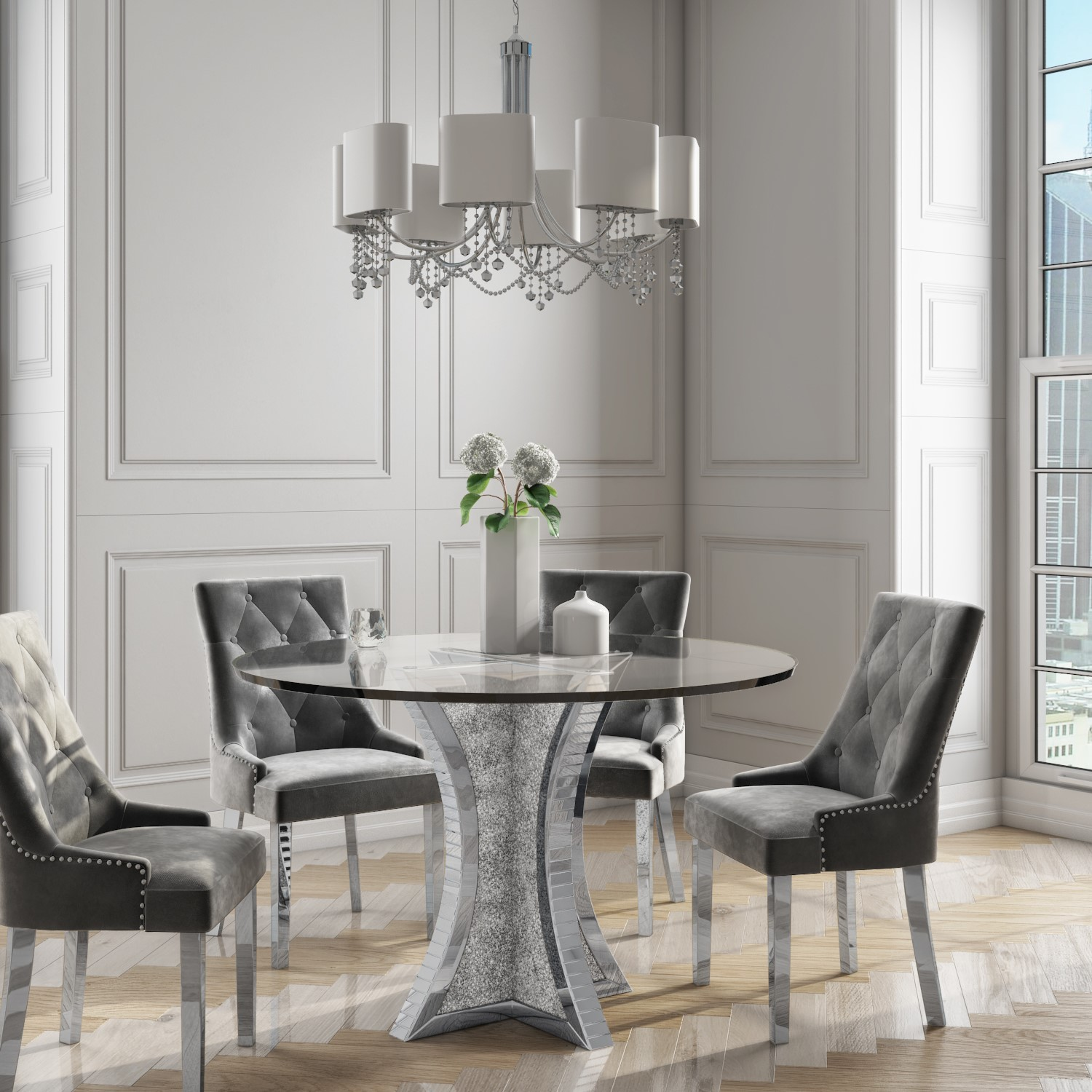 Jade Boutique Round Mirrored Dining Table with 9 Chairs in Grey Velvet